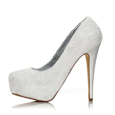 a0d158320fd Women s Closed Toe Pumps Dyeable Shoes Stiletto Heel Lace Satin Yes Wedding  Shoes