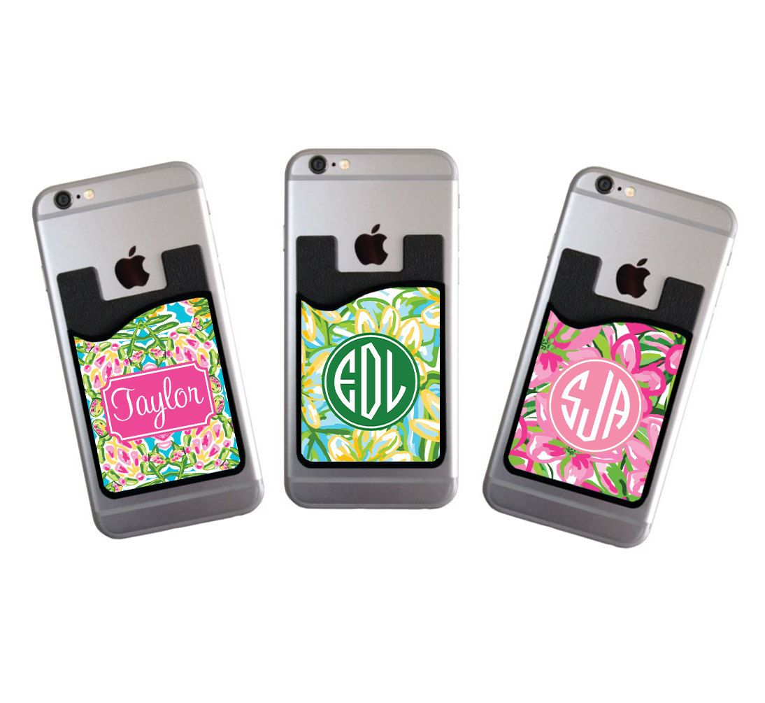 Custom Monogrammed Cell Phone Card Caddy Wallet Preppy Holder Monogram Gifts Id Credit