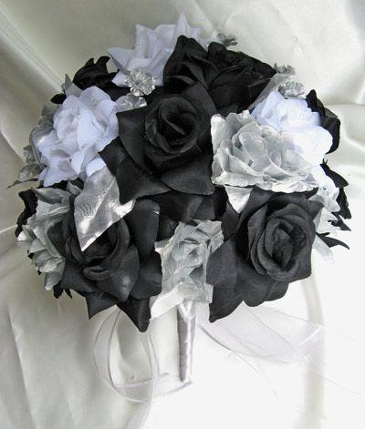 Black Silver Wedding Bouquets 21pc Round Bouquet Flower White