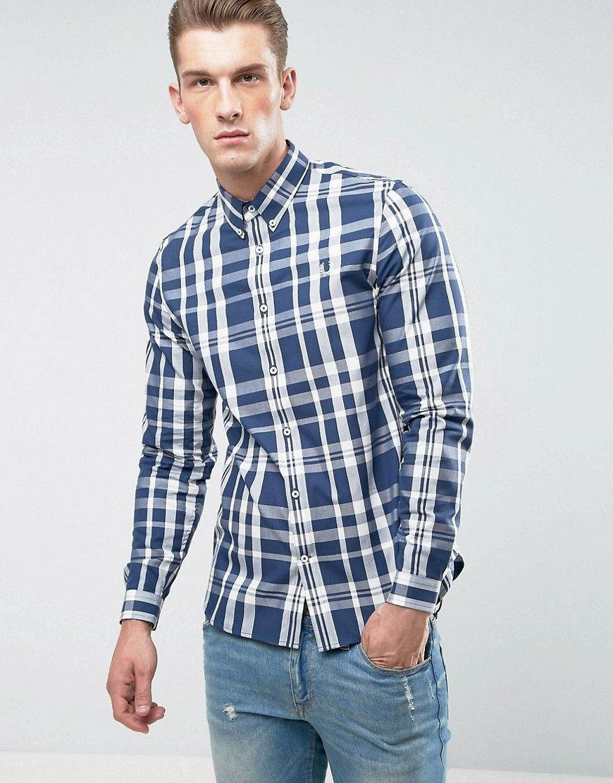Get this Fred Perry's plaid shirt now! Click for more details. Worldwide  shipping. Fred Perry Slim Fit Large Check Shirt Navy - Navy: Shirt by Fred  Perry, ...