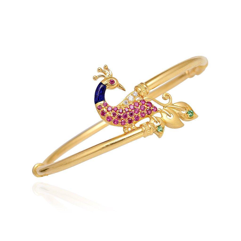 bangles 22 kt gold peacock bangle bracelet grt