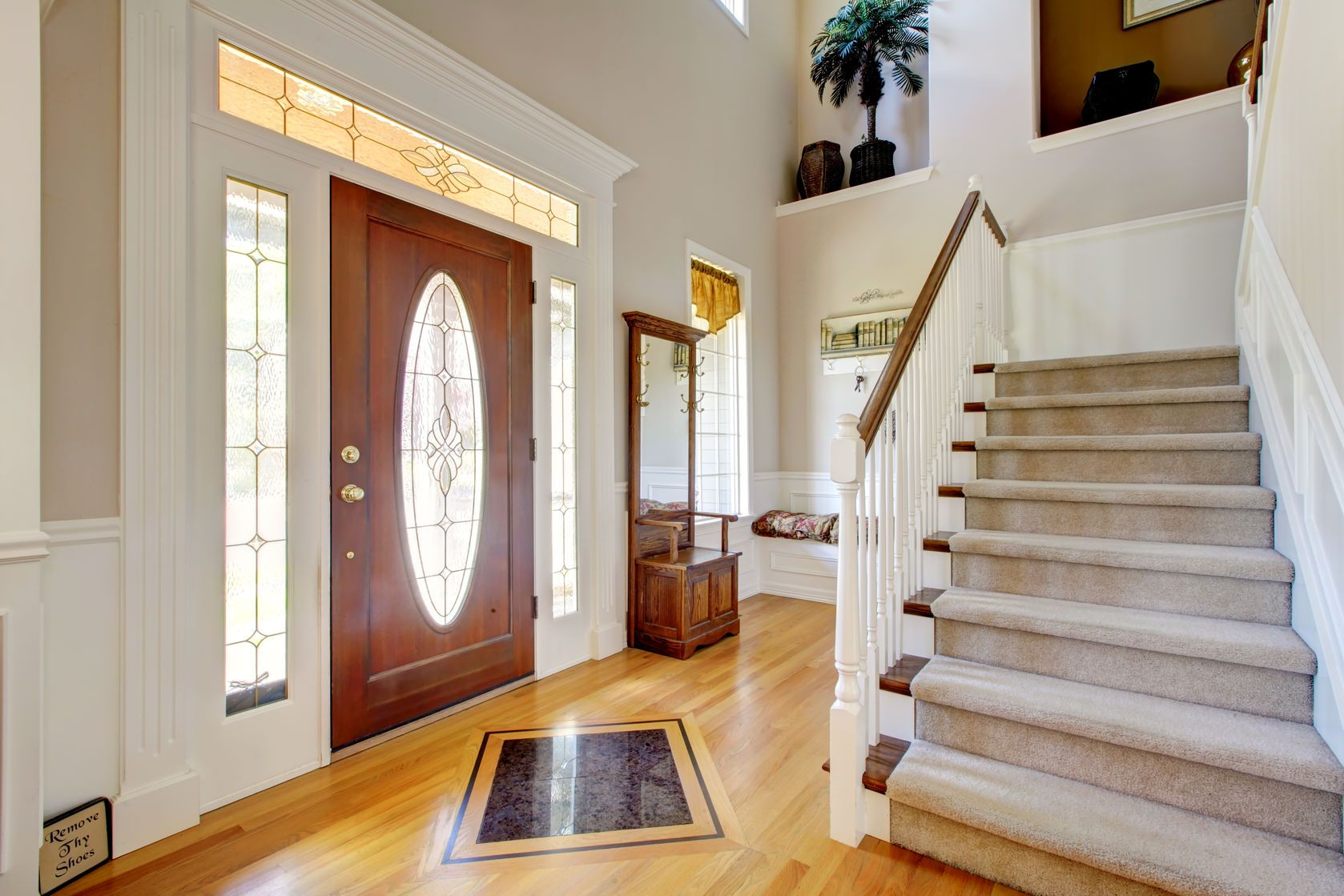 Home Entry Way Carpeted Stairs Front Doors With Windows Interior Staircase Glass Front Door