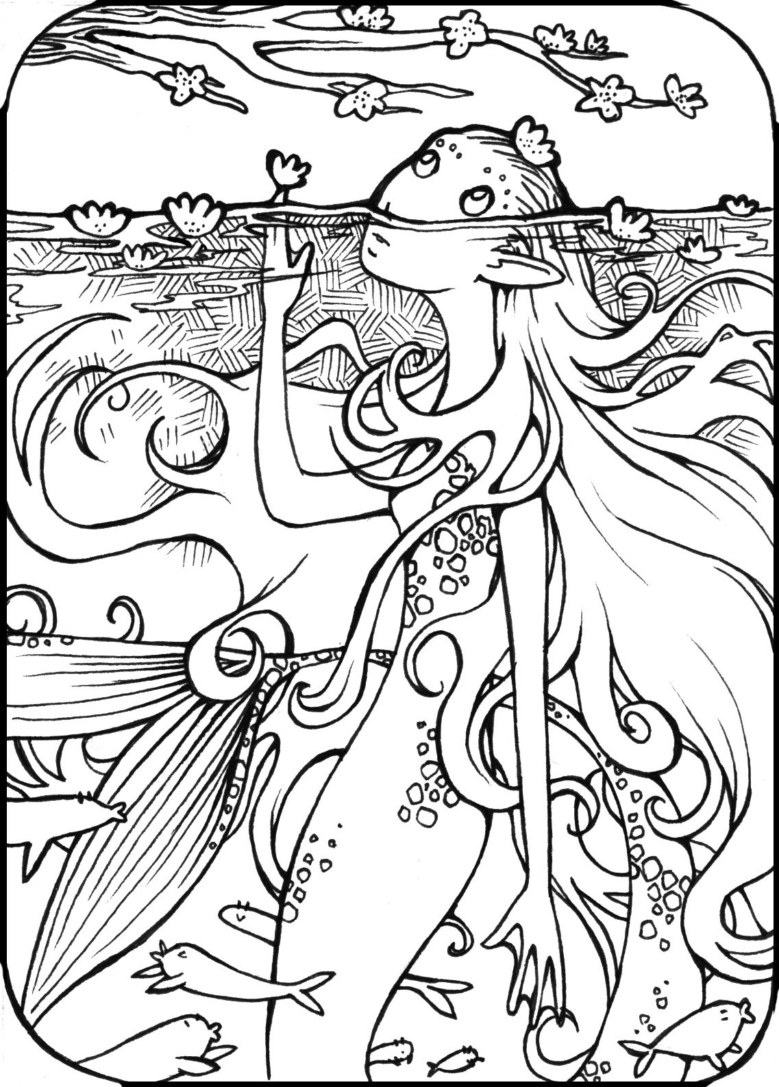 Free coloring pictures of mermaids - 17 Best Images About Fancy Coloring Pages On Pinterest Coloring Coloring Book Pages And Disney Characters