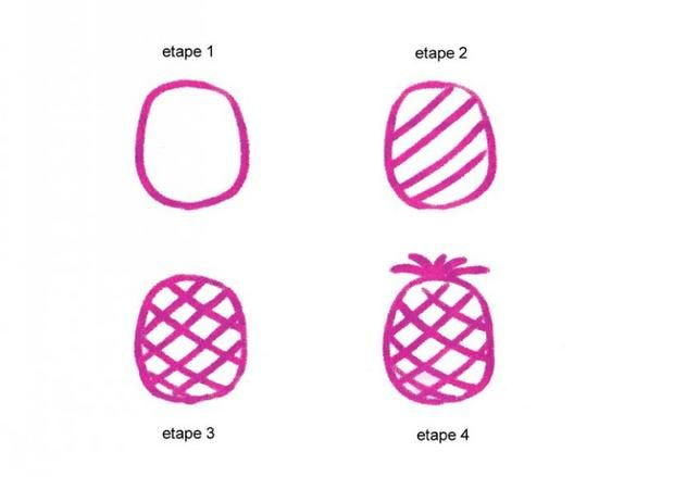 Leçon De Dessin Un Ananas Ananas Dessin Dessins Simples
