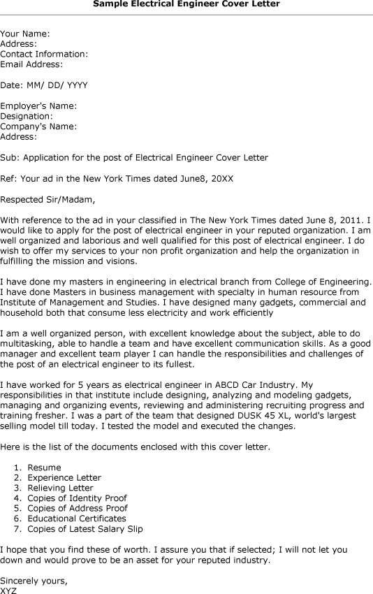 application letter for electrical engineer example fashion
