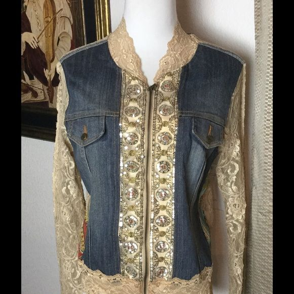 Cache Lace & Denim Jacket.  What A Beauty❗️ Check out this awesome Cache jacket.  Sz M..in good condition.  Only worn once! Cache Jackets & Coats Jean Jackets