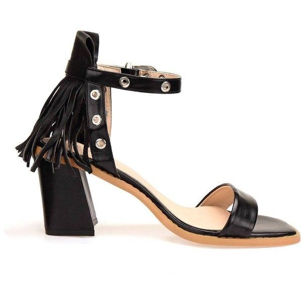 Yoins Black Fringed Ankle Strap Heeled Sandals ($45) ❤ liked on Polyvore featuring shoes, sandals, yoins, black ankle strap sandals, heeled sandals, peep toe sandals, black sandals and fringe shoes