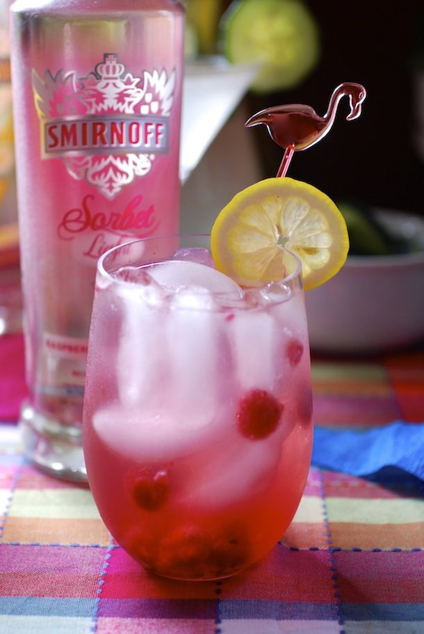 Light Summer Cocktail Recipes: Raspberry Lemon Punch Cocktail (Featuring Smirnoff Sorbet