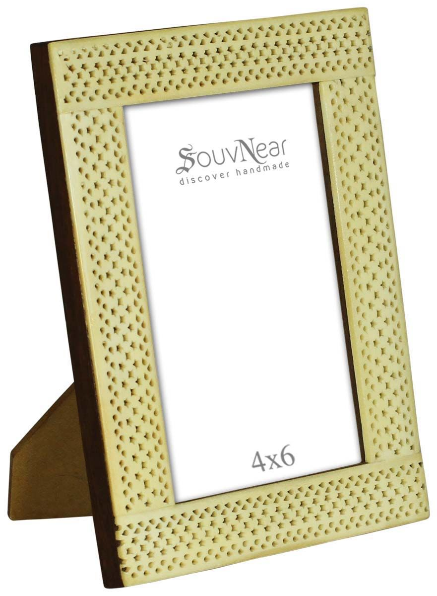 4x6 inches picture frame in bulk wholesale handmade photo frame in wood and bone inlay