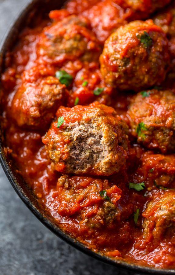Easy Baked Meatballs Recipe & Video with Marinara