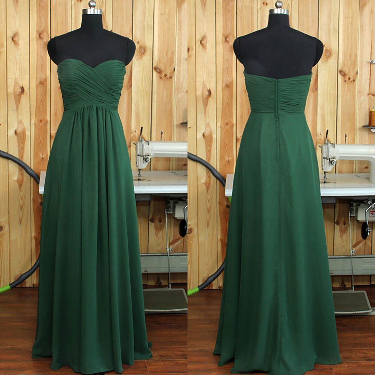 Dark Green Bridesmaid Dress Online, A-line Sweetheart Bridesmaid