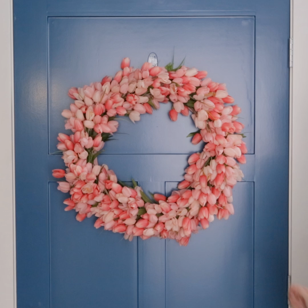 If you thought the materials list was simple, check out our easy instructions to make your own DIY spring wreath in minutes. #tulips #springwreath #bhg
