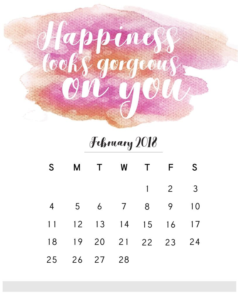 February 2018 Calendar With Quotes | MaxCalendars | Pinterest ...