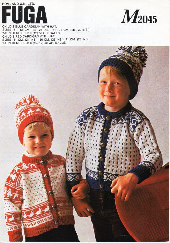 Vintage childs / childrens fair isle motif cardigans hat Knitting ...