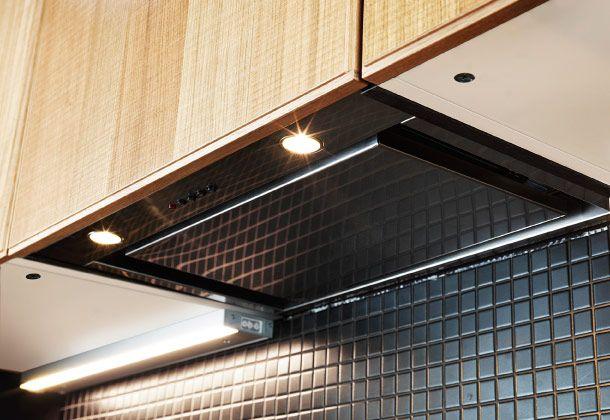 eingebauter underverk dunstabzug in edelstahl in einem. Black Bedroom Furniture Sets. Home Design Ideas
