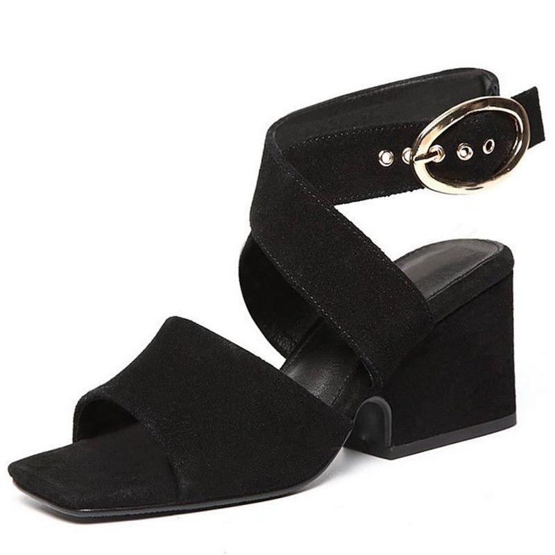 70ba31aaa 2017, лето, новый большой размер 41 42 43 сандалии на высоком каблуке  квадратной головой