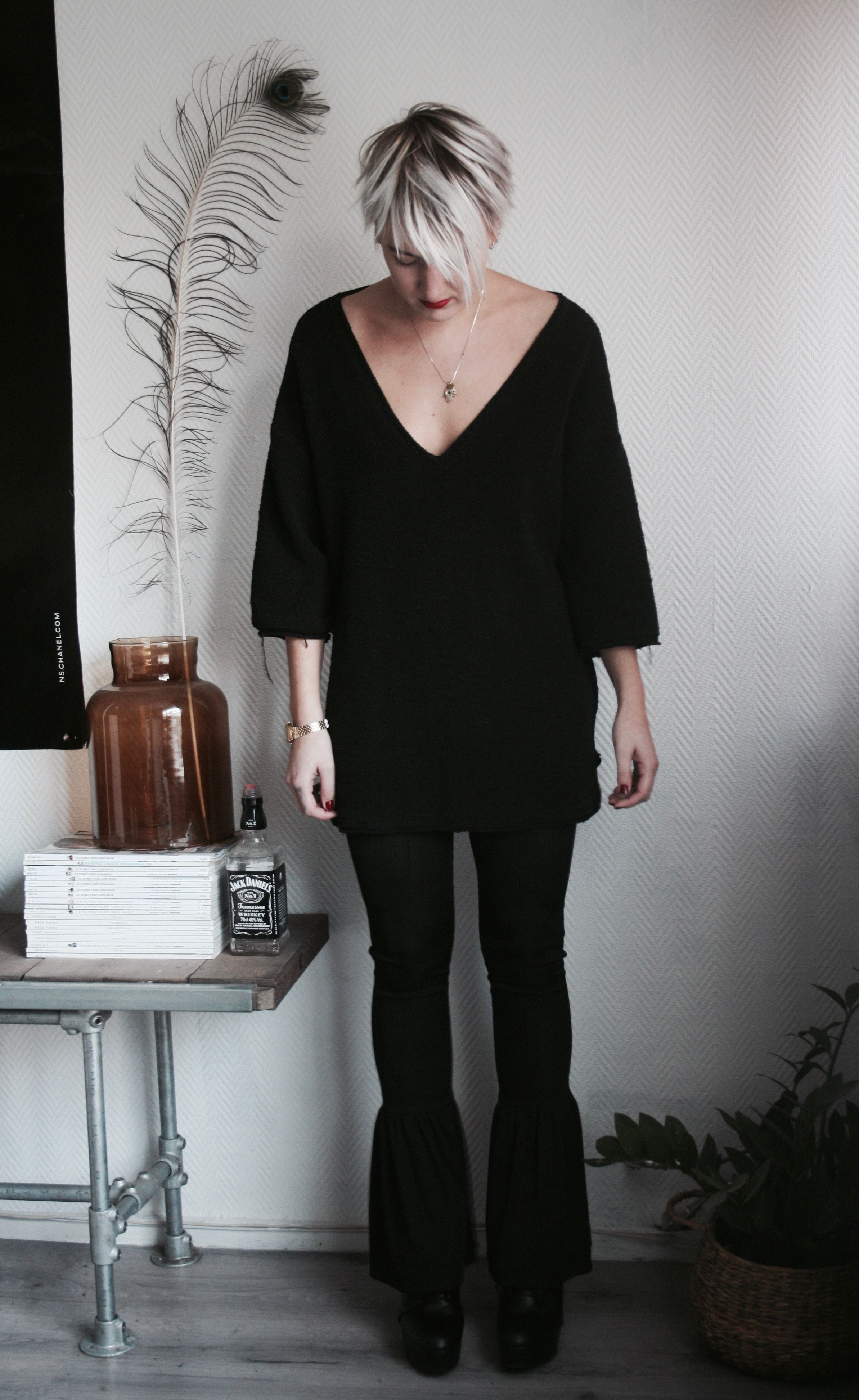 high waist legging volant zara bell bottom flared pants knit shirt interior