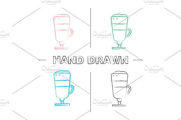 Latte macchiato hand drawn icons set #lattemacchiato