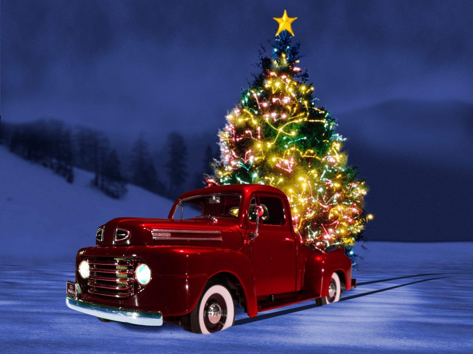 Christmas Tree Christmas Truck Christmas Wallpaper Backgrounds Country Christmas