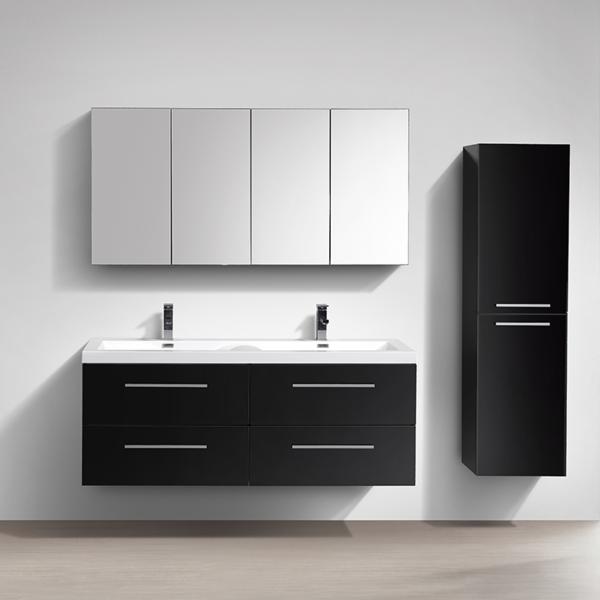 Mueble lavabo lavabo 144cm montado lacado negro siena for Muebles de bano negro
