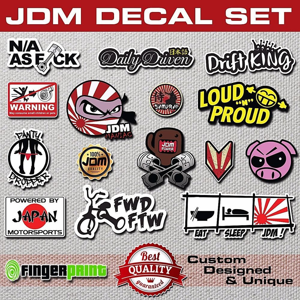 Jdm decal set pack sticker stickerbomb illest hella stance low life honda toyota fingerprintdesign