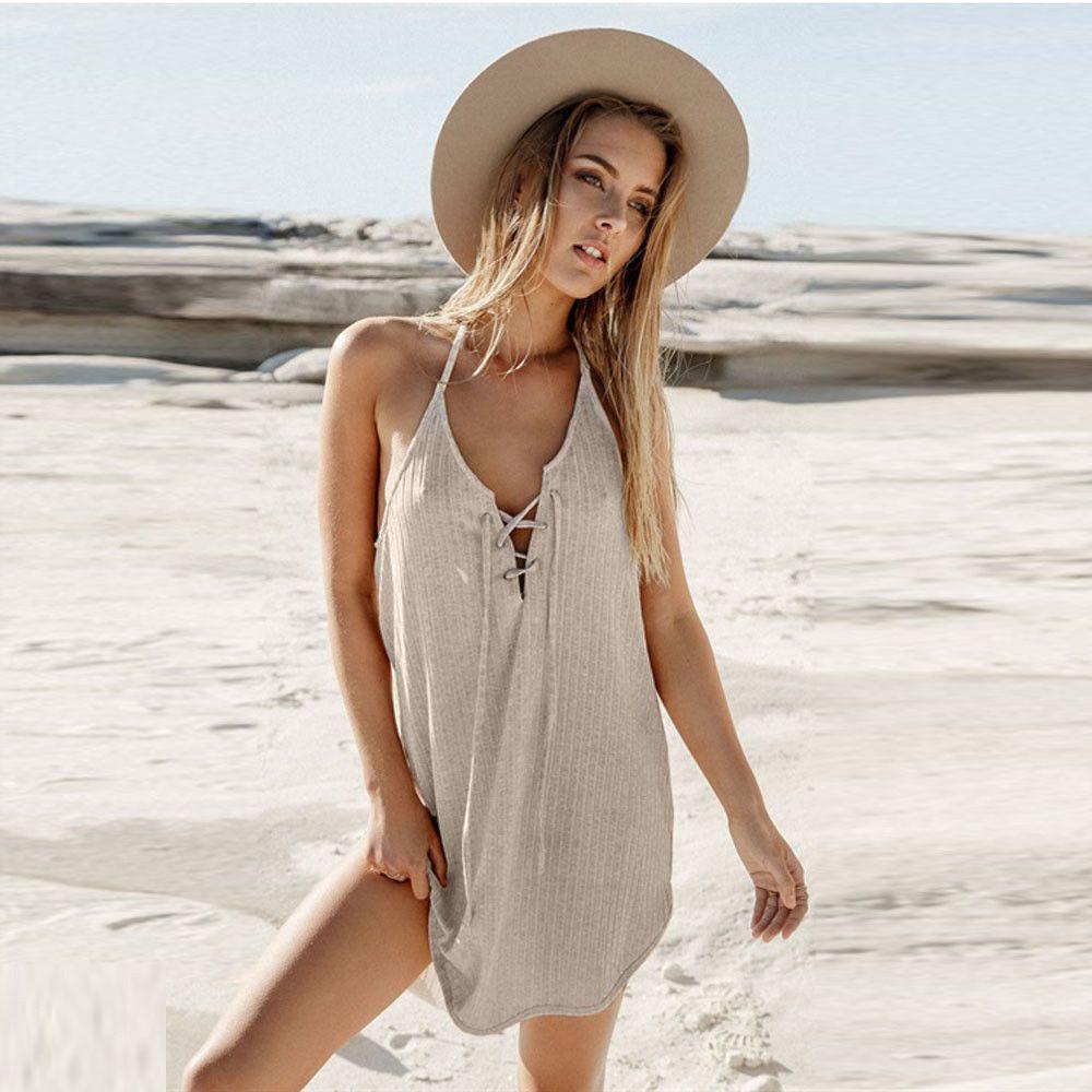 3ac97c8627f  10.01 - Women V-Neck Sleeveless Starp Beach Dress Backless Casual Bandage  Mini Dress  ebay  Fashion