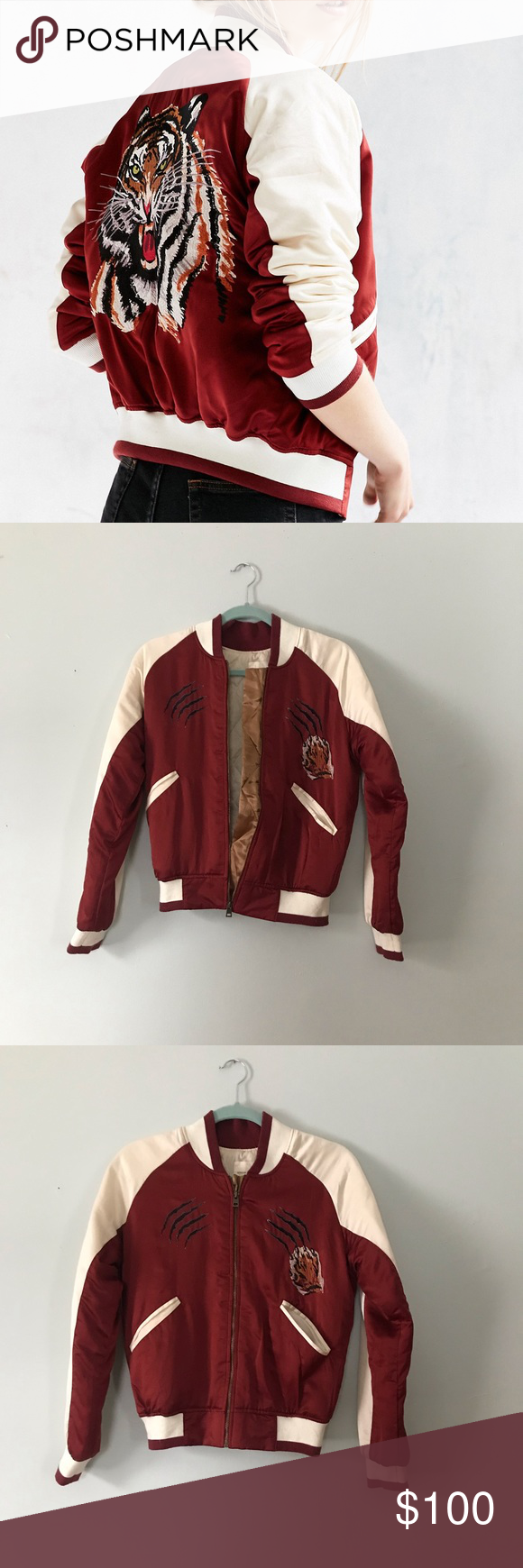 Urban Outfitters Satin Tiger Bomber Jacket Urban Outfitters Jacket Urban Outfitters Bomber Jacket