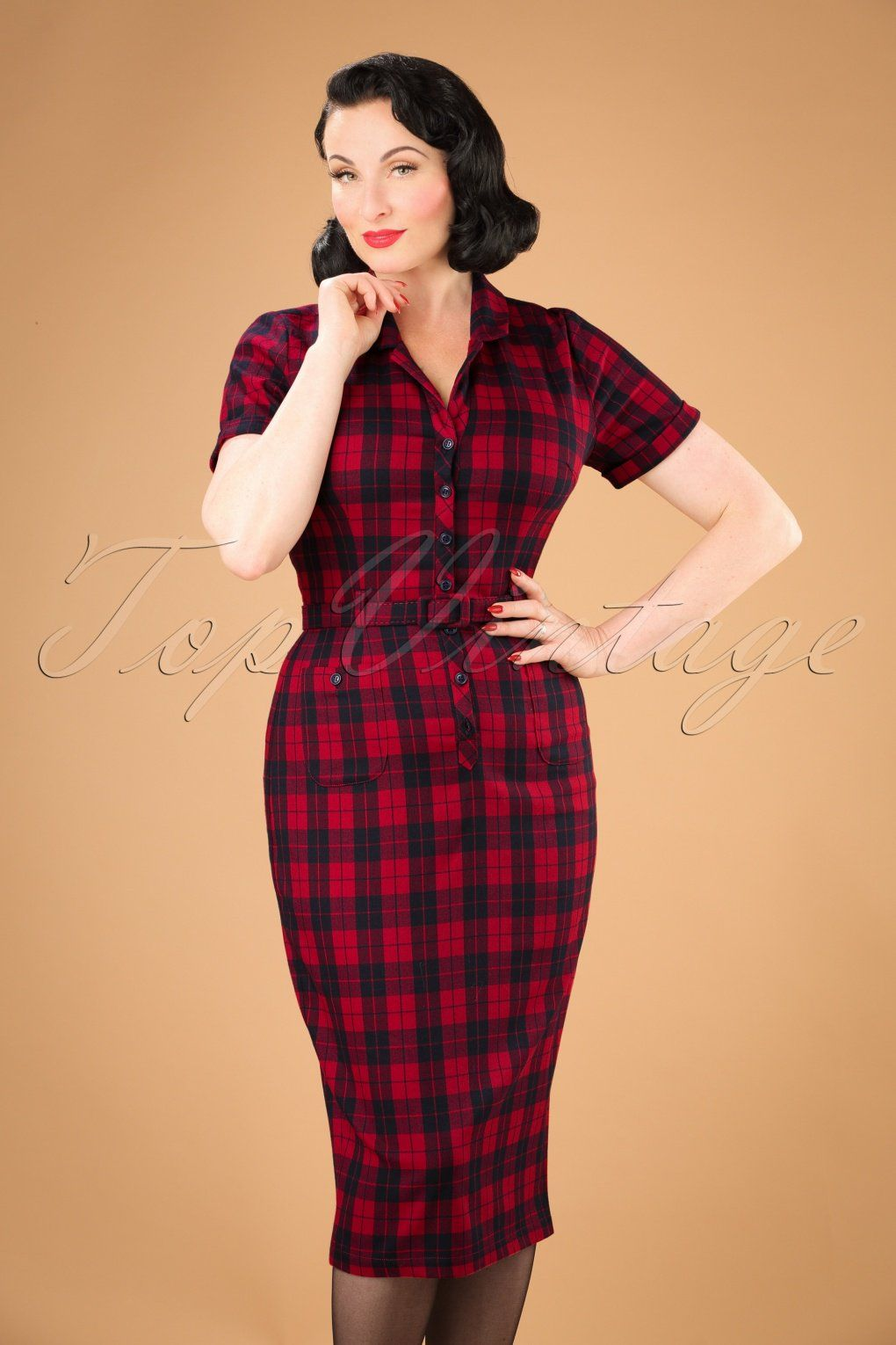 f228f6db Wiggle Dresses | Pencil Dresses 50s Caterina Ettrick Check Pencil Dress in  Red £68.41 AT vintagedancer.com