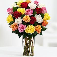 two dozen long stemmed rainbow roses with square glass vase