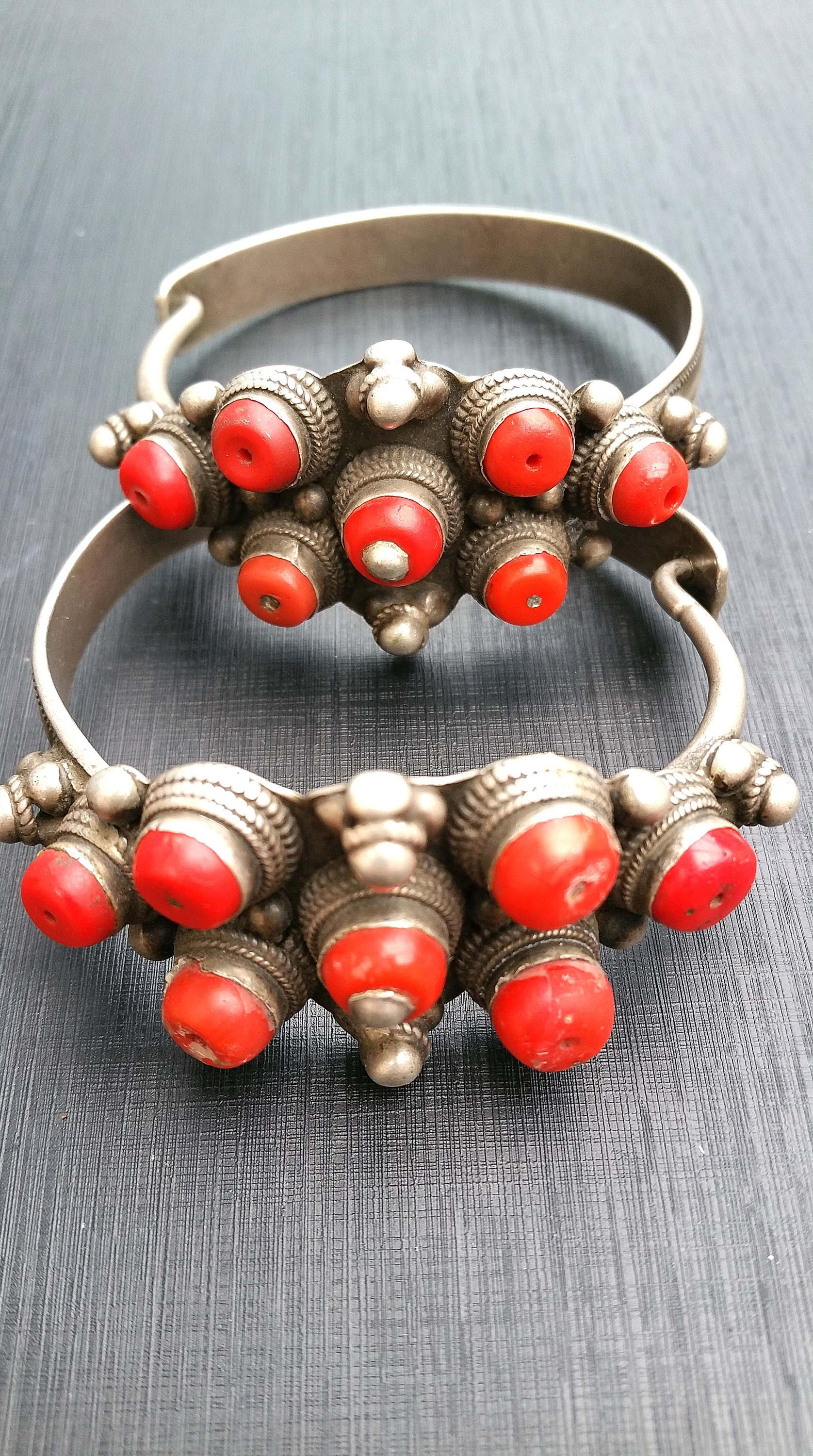 RARE! Ethnic nomad antique silver and red glass Tibetan earrings Amdo region. by tribalgallery on Etsy