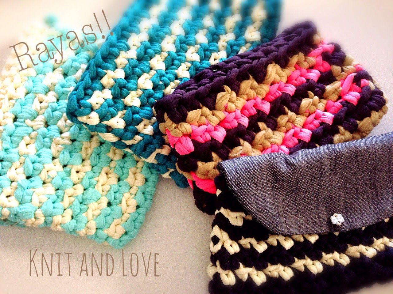 Bolso de trapillo a rayas paso a paso crochet clutch for Bolso crochet trapillo