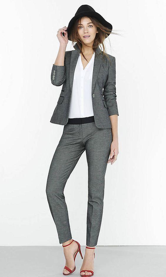 beauty selected material sneakers Womens Tweed One Button Jacket & Tweed Ankle Pant   slim fit ...