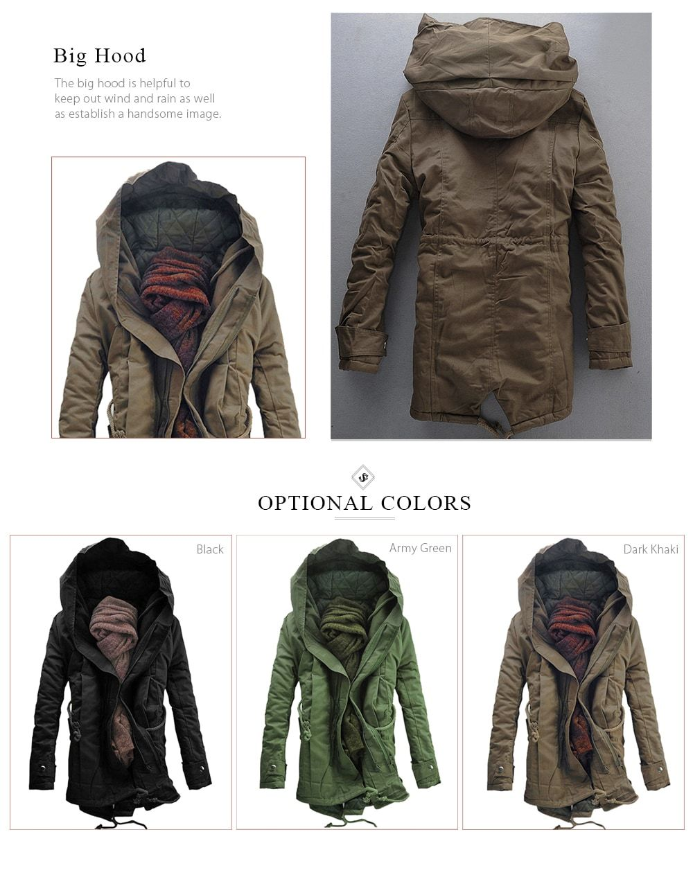 Street Style Men s Jacket. Hooded Double Zip Up Padded Parka Coat cafd419d7