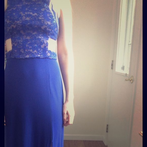royal blue prom dress royal blue prom dress worn once, w nude and blue sequin and open slits. altered to fit a 3/4 Morgan & Co. Dresses Prom