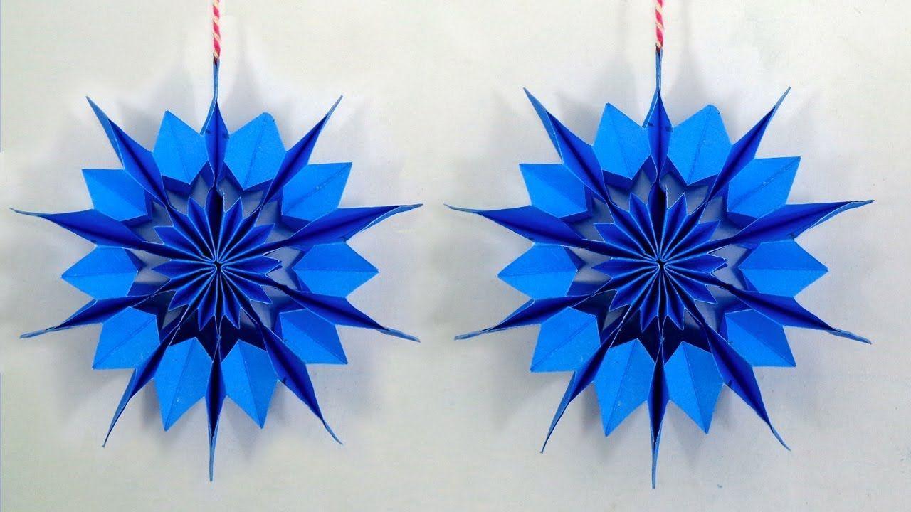 How To Make A 3d Paper Snowflakes Hanging For Christmas Diy Handmade 3d Paper Snowflakes Handmade Christmas Crafts Paper Christmas Ornaments