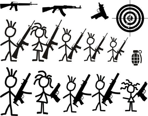 Gun Stick Figure Family Rear Car Window Decal