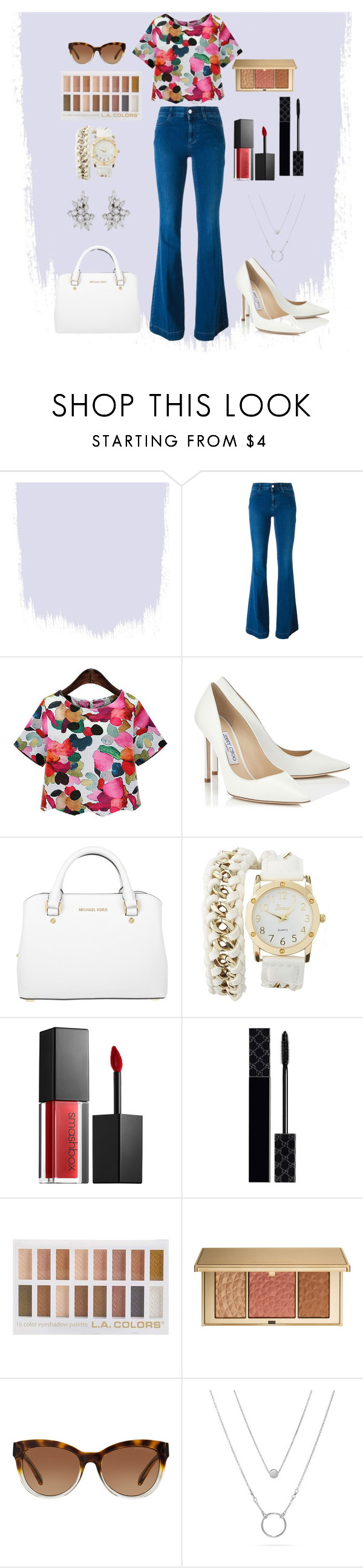 """6/25.4"" by jomstyle ❤ liked on Polyvore featuring STELLA McCARTNEY, Jimmy Choo, Michael Kors, Charlotte Russe, Smashbox, Gucci, Estée Lauder and uniqfind"