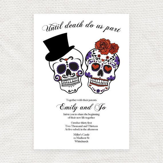 until death do us part wedding invitation sugar skulls - printable,