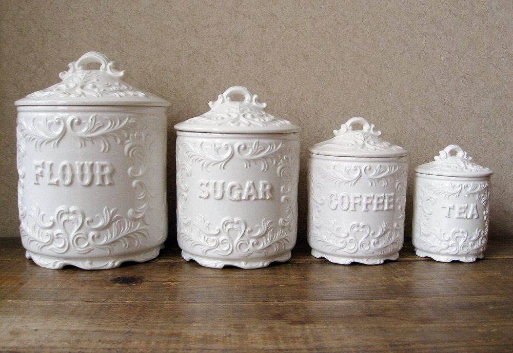 Vintage Canister Set Antique White With Ornate Details White Kitchen Canisters Vintage Canister Sets Vintage Canisters