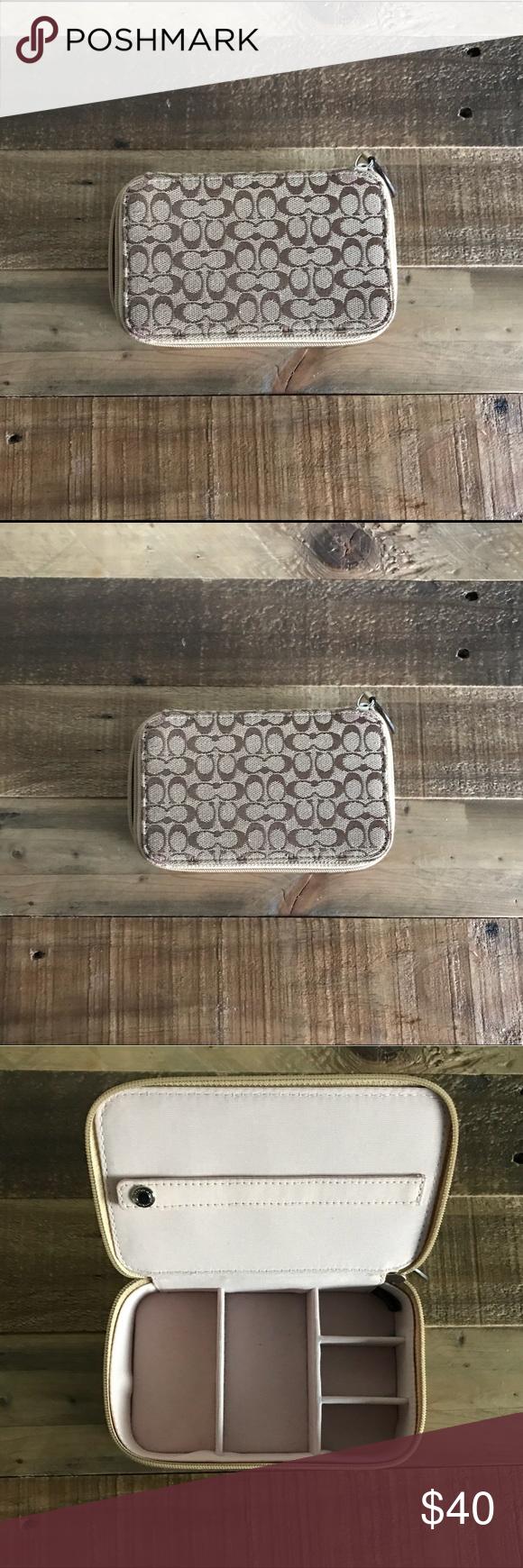 Coach Jewelry Box coach pattern travel jewelry box with zipper and