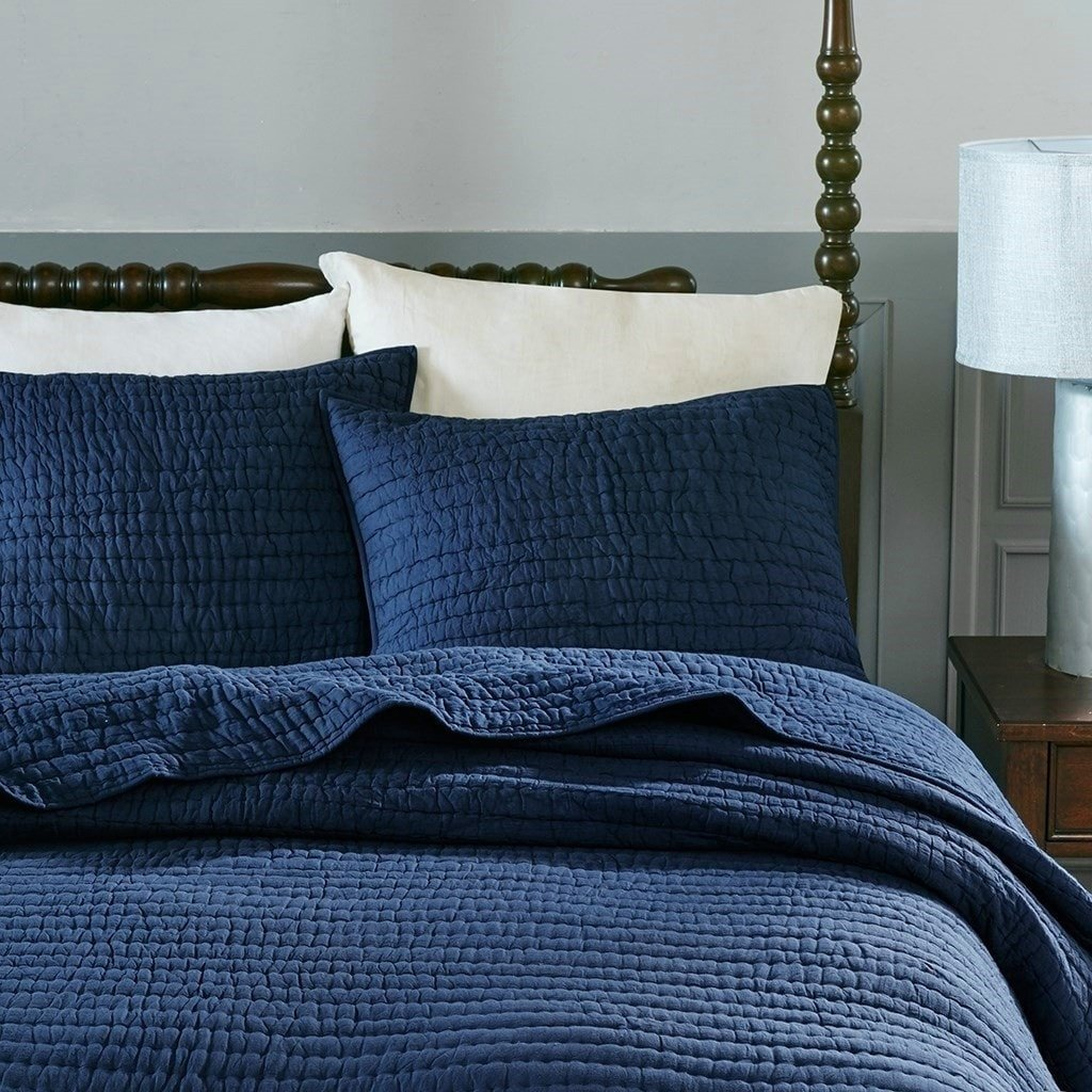 Classic Solid Navy Blue Coverlet Gives Your Bedroom Instant And Effortless Style Crafted With Airy Voile Cott Blue Quilt Bedding Navy Bedding Quilted Coverlet