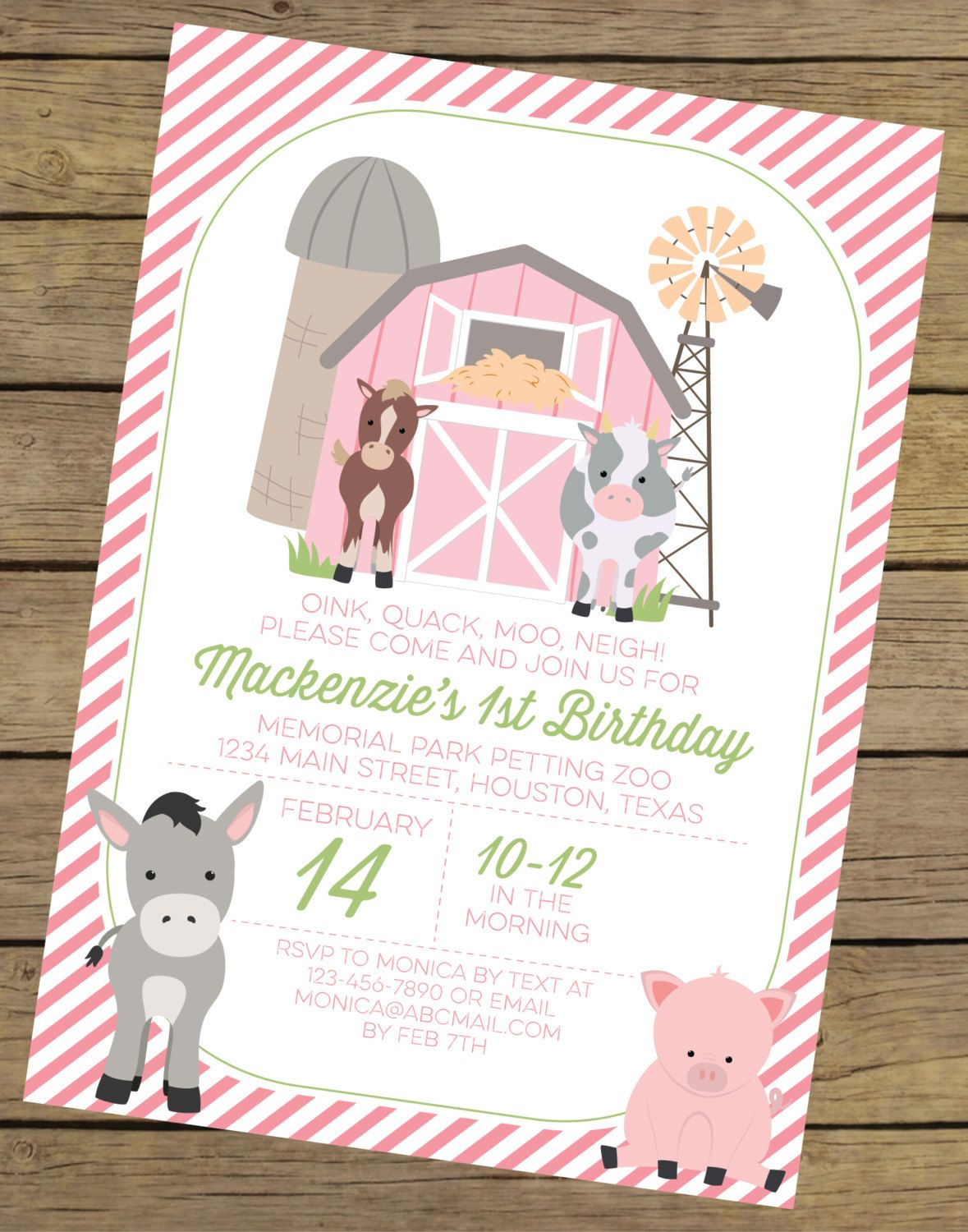 Girl farm birthday invitation invitation farm birthday farm pink farm birthday invitation for a girl farm party printable invite petting zoo invitation farm theme party printable invitation by filmwisefo