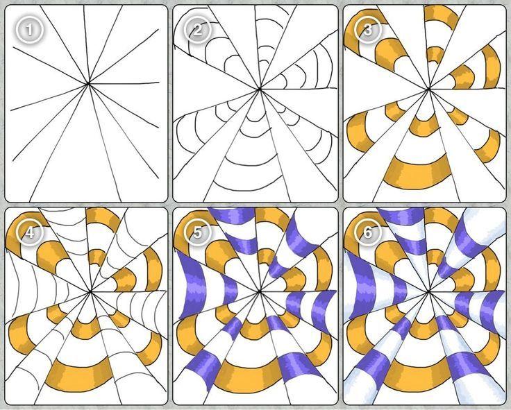 Zentangle nedirZentangle tarzi cizimlerbazi motiflerin yapilisi – Op Art Worksheet