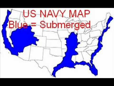Us Navy Earth Changes Flood Map Of America Navy map of future earth changes in the United States | United