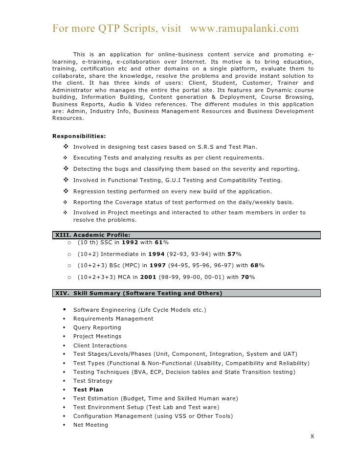 5 years testing experience resume format