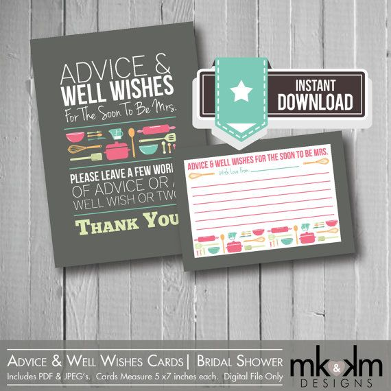 Advice & Well Wishes Cards: Bridal Shower Advice Cards