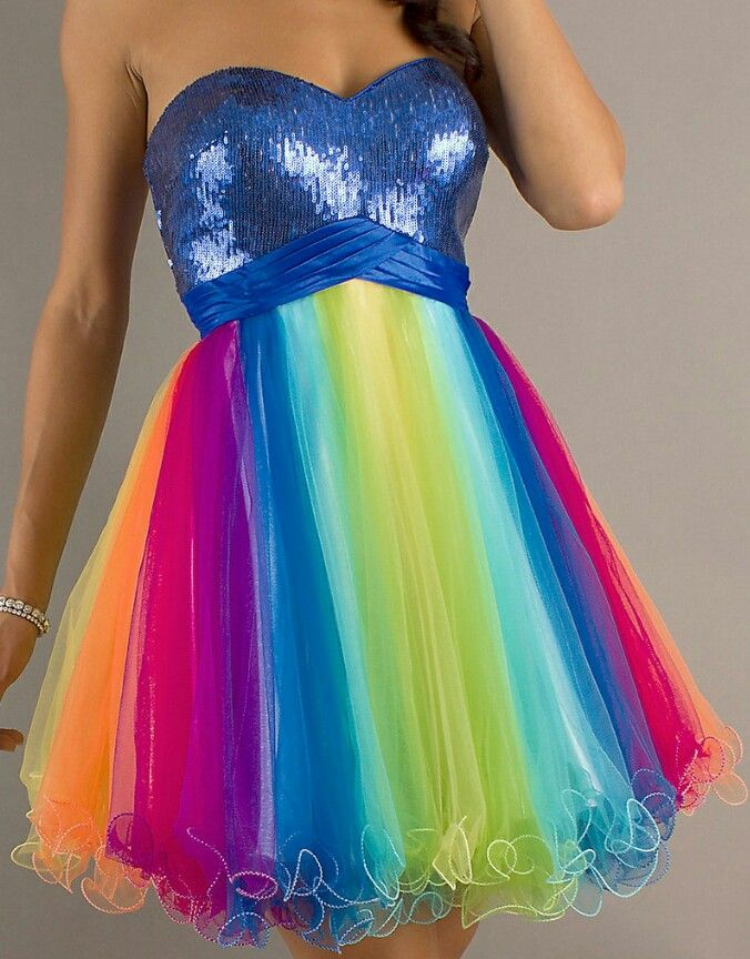 5e7520bee76 Rainbow prom dress. Guess it s for a Iris daughter to go!