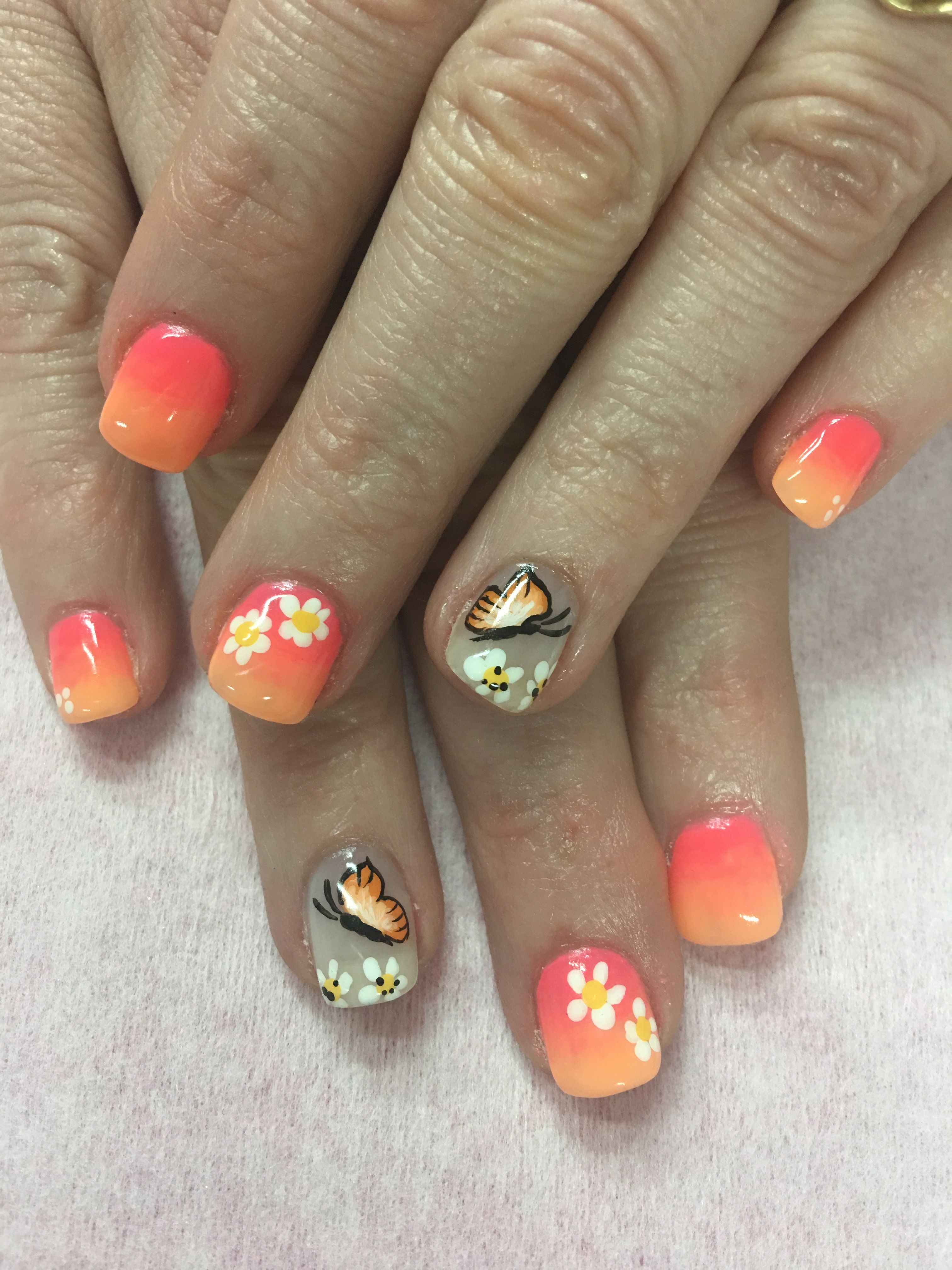 Coral Peach Orange Ombre Hand Painted Butterfly And Flowers Gel Nails Coral Nails With Design Butterfly Nail Art Gel Nail Designs
