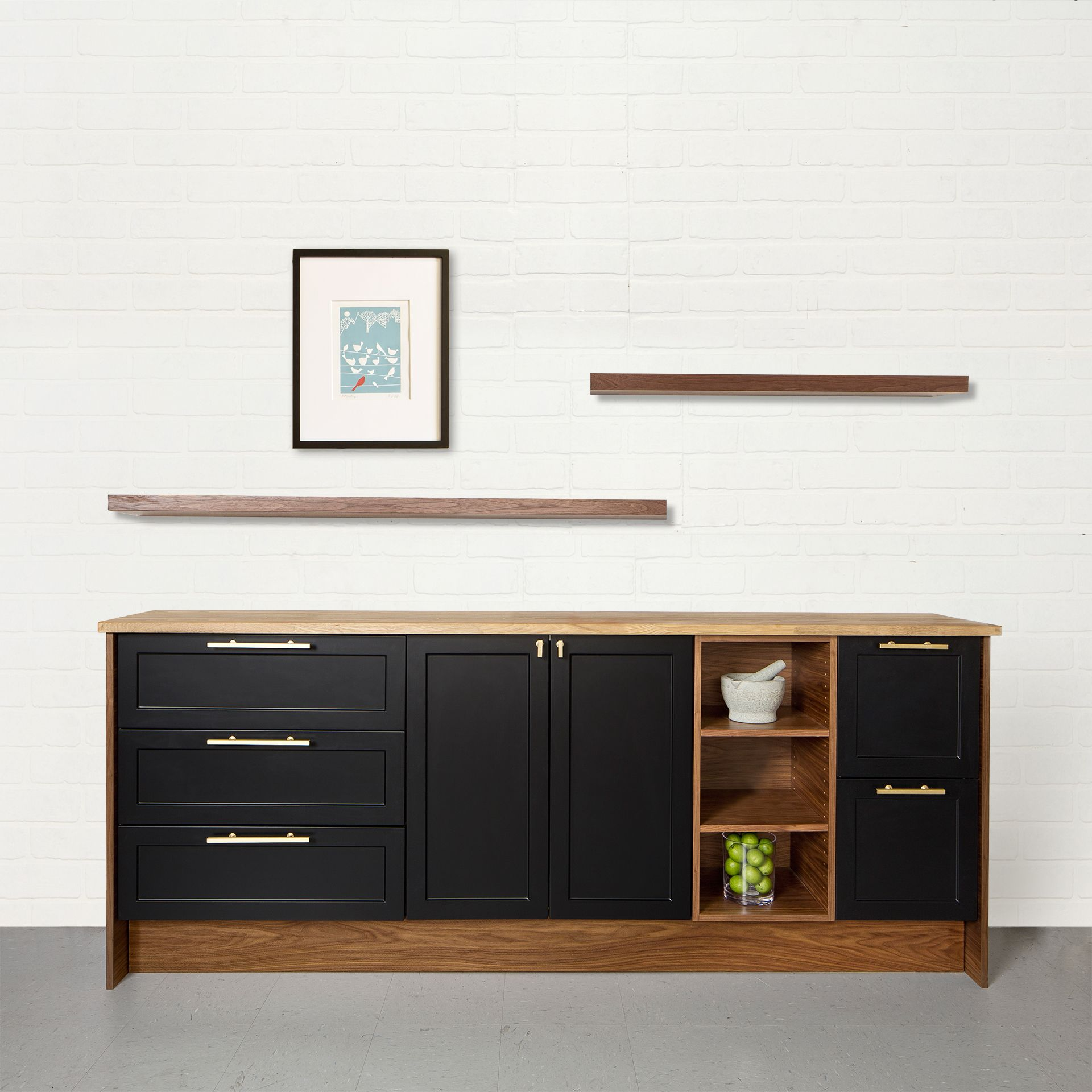 Ikea Walnut Shelves: Semihandmade Supermatte Black Shaker Ikea Kitchen