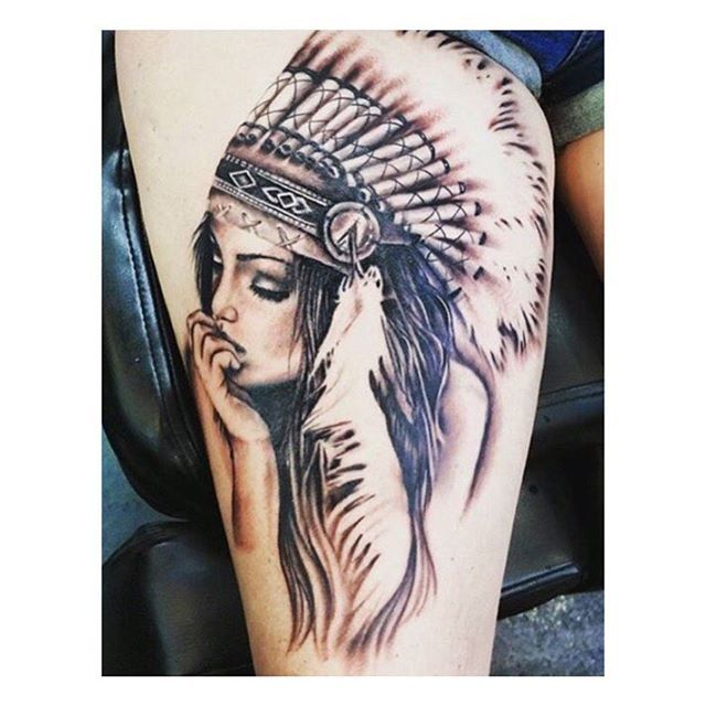 Beautiful Native American Woman Tattoo Venice Tattoo Art Designs Native Tattoos Tattoos Indian Girl Tattoos